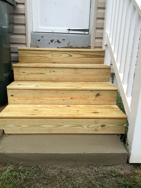 Exterior wood steps glenside jr carpentry tile for Exterior stairs