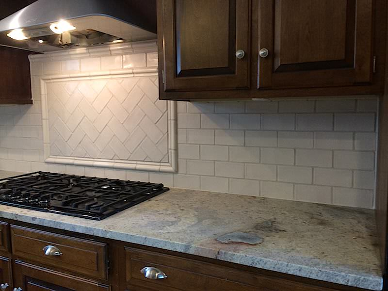 Kitchen backsplash installed by JR Carpentry & Tile.