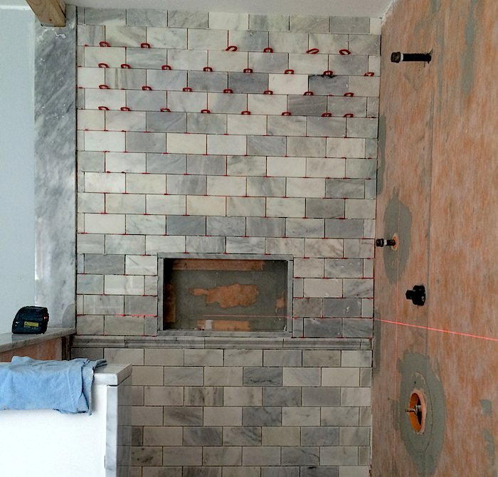 Niche tile installation by JR Carpentry & Tile.